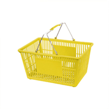 plastic collapsible shopping basket with metal hand