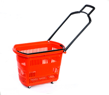 supermarket plastic shopping basket trolley with wheels