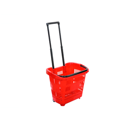 supermarket collapsible shopping basket with wheels