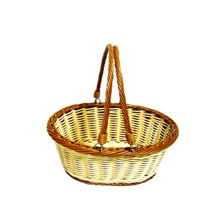 food grade double color plastic PP rattan display basket with hand