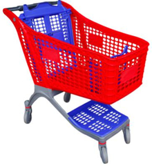 175L big plastic shopping carts for retail store